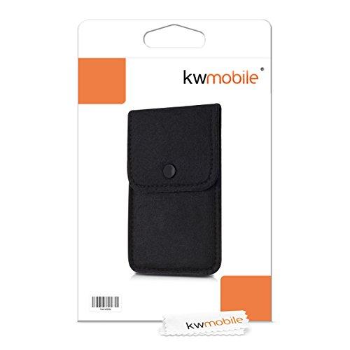kwmobile Edle Filztasche mit Druckknopfverschluss für Smartphones in Grau Schwarz