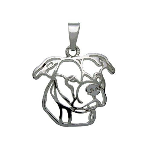 H&H Damen-Krawattenklammer Silver Paws Amerikanische Pitbull Terrier II. Anhänger 925 silber - 7000007 (Pitbull Schmuck)