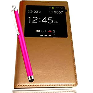Etui Housse SAMSUNG GALAXY S5 coque GALAXY S5 4G or gold Flip cover de Protection à clapet PORTEFEUILLE Vitre S View FOLIO G900F G900 G900H SM-G900 + stylet rose