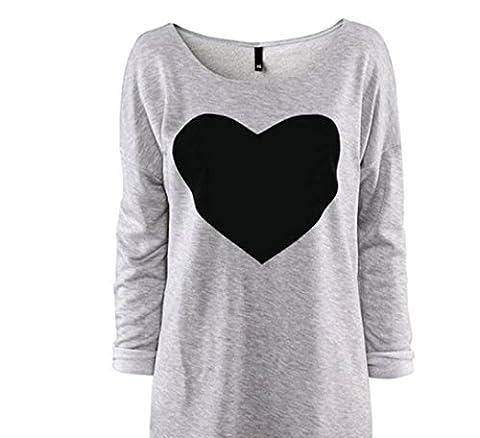 Lady Fashion Blouse , Yannerr Fashion Women Love Heart Printed Long Sleeved Round Neck T-Shirt (XL)