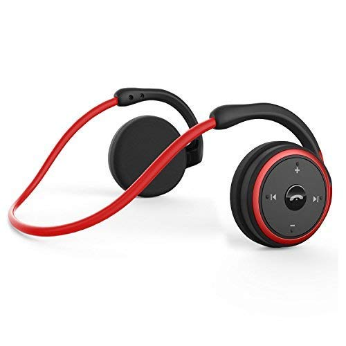 KAMTRON-Levin Bluetooth Wireless Kopfhörer Sport - Marathon2 Bluetooth 4.2 Kopfhörer mit Clear Voice Capture Technologie und Echo Cancellation Mikrofon für Gym, Sport, Running, Work, Rot