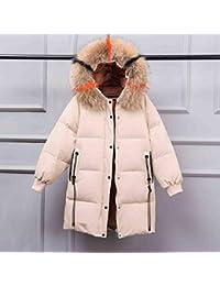 GUXIU Piumino d oca invernale Donna Cappotto lungo con cappuccio Parka  Pelliccia di procione Plus 6ad42bded60