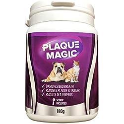Plaque Magic 180g Antiplaque für Hunde & Katzen Plaque Off | Entfernt Plaque, Zahnstein und Mundgeruch | Keine Zahnbürste erforderlich | 100% vegan Uns natürlich
