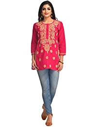 ADA Hand Embroidered Lucknow Chikan 100% Cotton Short Top (A250402_Magenta)