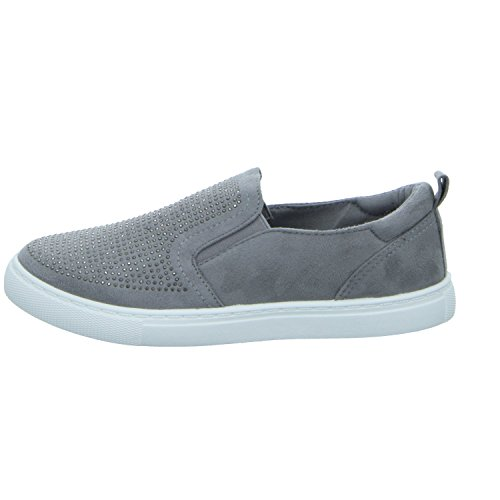 living Updated NR718 Damen Slipper Halbschuh sportlicher Boden Grau (Grau)