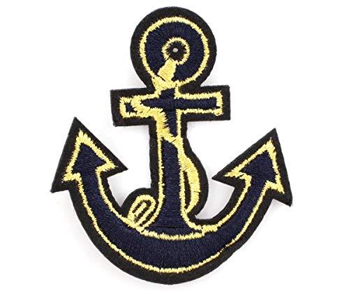 1pc Schwarz Gold Anker-Marine-Iron On-Aufnäher Gestickt Nähen Applique Patch DIY-Kunst-Geschenk-Kostüm Abzeichen Jeans Jacke Kleidung 68mm x 58mm (Womens Kostüme Cartoon)