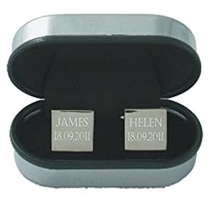 Cufflinks - Personalised with a name and date