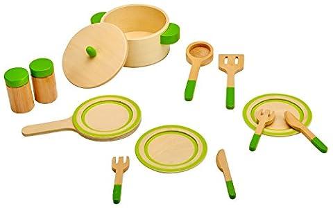 Idena 4100075 - Kleine Küchenmeister Küchengeschirr aus Holz, 13 teiliges Set, circa 24 x 18 x 6 cm