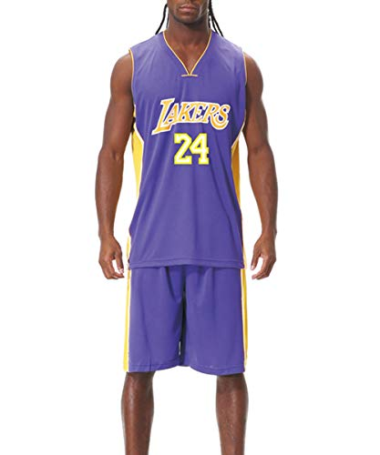 DEBND Herren- und Unisex-Basketball-T-Shirt - Sommer-Basketball-Uniform NBA Lakers Kobe 24. Fan-Edition # Jersey - Klassischer Retro-Basketball-Swingman-Ärmelloses Oberteil und Shorts