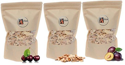 ifea BBQ Räucherchips Mix Premium Buche, Kirsche, Pflaume - 3 x 1,5 l - Wood Smoking Chips - Grillchips zum Smoken & Räuchern