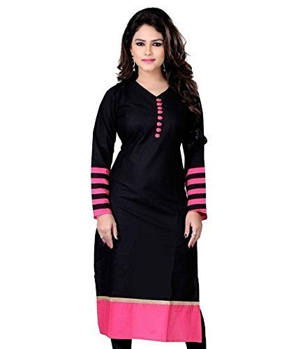 Kurti (Women\'s Clothing Kurti for women latest designer wear Kurti collection in latest Kurti beautiful bollywood Kurti for women party wear offer designer Kurti) (Black)
