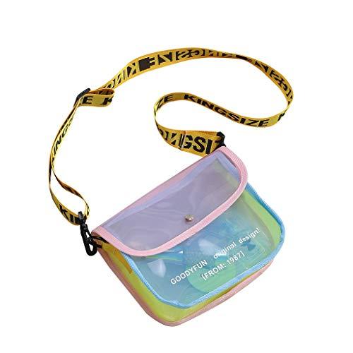 LABIUO Damentasche,Stilvolle Transparente Jelly Kleine Quadratische Tasche Kosmetiktasche Verstellbare Brief Schulterriemen Messenger(Rosa,Einheitsgröße) -