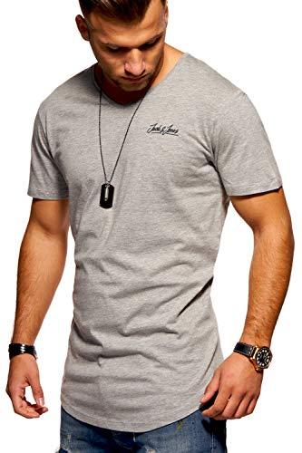 JACK & JONES Herren T-Shirt Kurzarmshirt Oversize Longshirt Basic V-Neck (Medium, Light Grey Melange)