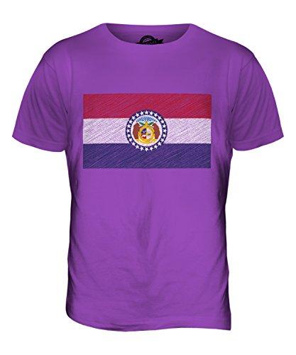 CandyMix Bundesstaat Missouri Kritzelte Flagge Herren T Shirt Violett