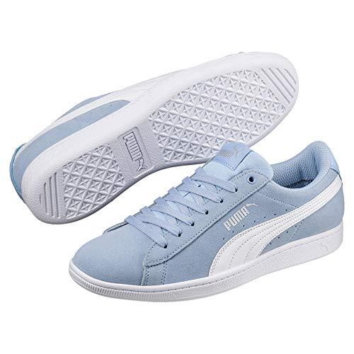 PUMA Puma Damen Sneakers Vikky - Bequeme Leder-Turnschuhe im Basketball-Style, angenehm gepolstert Vikky Softfoam Cerulean-Puma White 3.5