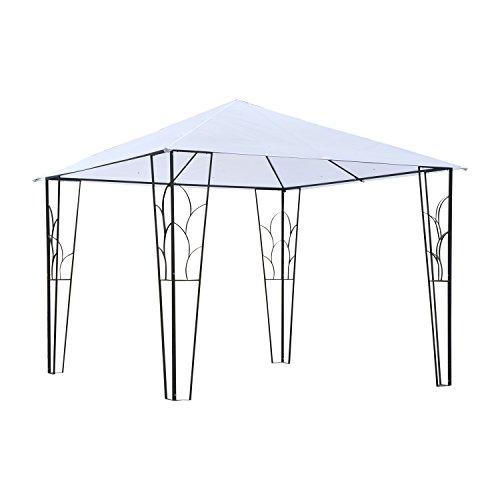Carpa Gazebo de Jardín con Estructura de Metal 3x3m para Comer y Descansar Color Crema y Tela Oxford
