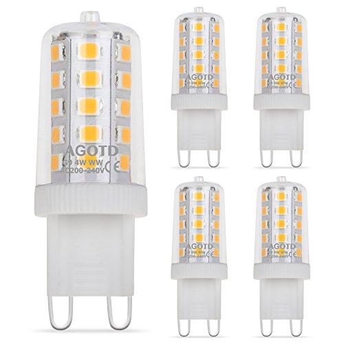 Ampoules LED G9 4W, AGOTD Ampoule LED 28W 33W 40W équivalent, Lampes LED Blanches Chaudes 2700K, 200-240V AC, Sans Scintillement, Sans éclairage, Brillant, Angle de 360 ,450Lm, CRI>82, Pack de 5 [Classe énergétique A++]
