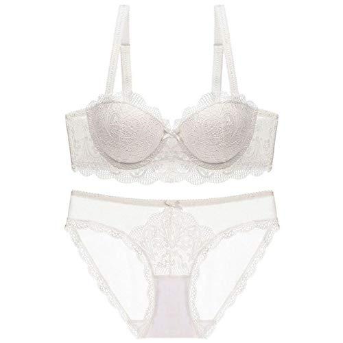 zysymx Demi-Tasse en Dentelle de Costume Femme Tube Haut Section Mince Petite Poitrine réunis pour recevoir Le Blanc Laiteux 80C