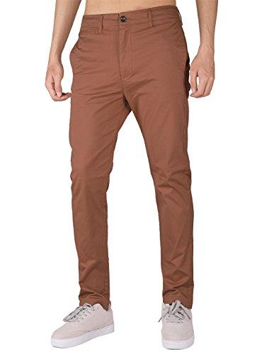 The awoken uomo chino casual pantaloni business slim fit (marrone, xl)