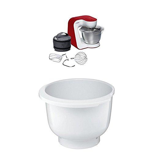Bosch MUM54R00 Küchenmaschine StartLine Edelstahl-Rührschüssel, 3D Rührsystem, 7 Schaltstufen, 3,9 L, 900 W, weiß / tiefrot + MUZ5KR1 Kunststoff-Rührschüssel für Küchenmaschine Mum5