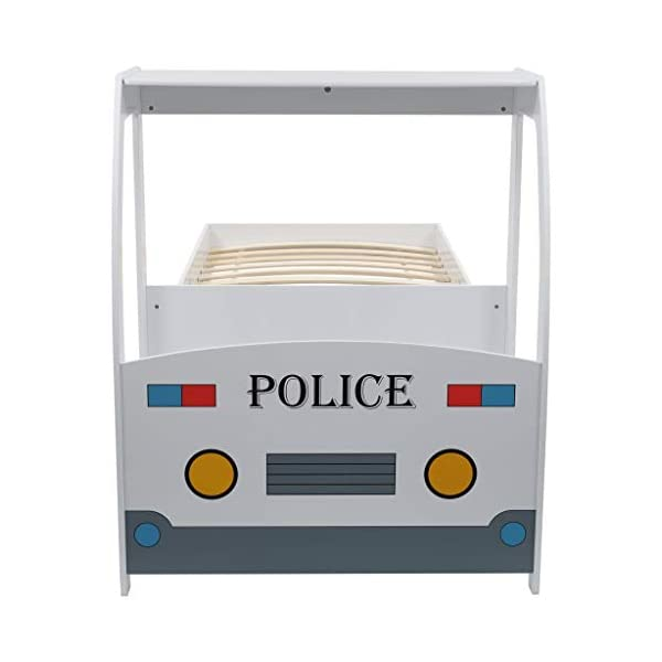 Festnight` Children's Police Car Bed with Desk 90x200 cm Festnight Overall dimensions: 260,5 x 97 x 117 cm (L x W x H) Featuring an appealing police car design and solid construction, this children's bed will be a real eye-catcher in your kid's bedroom. Comfortable, functional, and aesthetically-pleasing, this bed is designed to ensure the utmost comfort and maximum safety for kids. 3