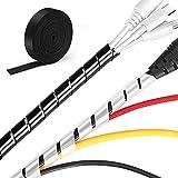MOSOTECH Kabelmanagement System, 2x5.2m Spiral-Kabelschlauch in Schwarz und Weiß + 1x3.1m Klett Kabelbinder zum Bündeln von Kabeln, Frei Zuschneidba