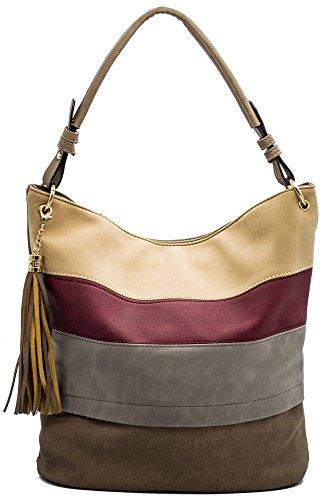 Handtaschen Damen Hobo Henkeltaschen Frauen Handtasche Quaste Fransen Schultertaschen Designer Tasche Umhängetasche (Handtasche Weiche Hobo Große)