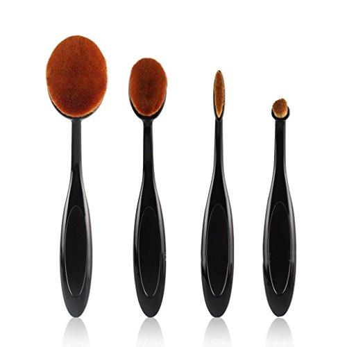 Elenxs 4pcs Forme Brosse à dents Maquillage Sourcils Fondation poudre Pinceau