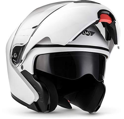 "MOTO Helmets® F19 \""Matt White\"" · Motorrad-Helm · Klapp-Helm Modular-Helm Flip-up Integral-Helm Motorrad-Helm Roller-Helm Full-Face Scooter-Helm · ECE Sonnenvisier Schnellverschluss Tasche XL (61-62cm)"