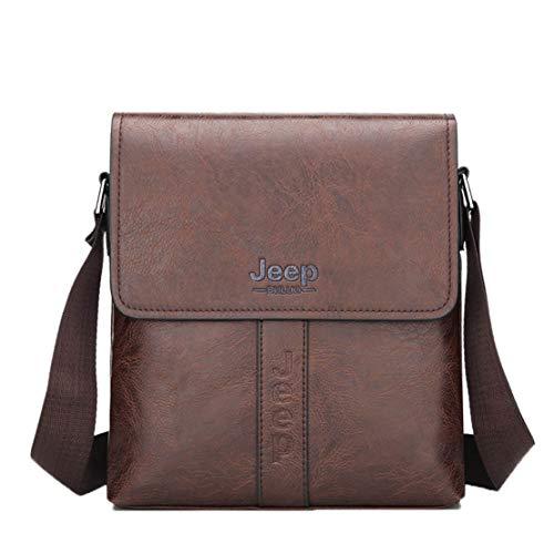 (Hemio Jungs Messenger Bag Männer Kleiner Umhängetasche Classic Leder Schultertasche Fashion Einfach Crossbody Bags (Braun))