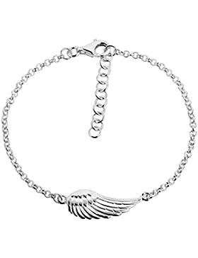 Damen Armband Silberarmband 2mm von Nenalina mit Engelflügel, 925 Sterling Silber, Damen-Schmuck Armkettchen Armbändchen...