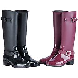 AONEGOLD Botas de Agua Mujer Lluvia Festival Altas Zapato Impermeables Ajustable Cremallera y Hebilla Goma Botas Wellington(Negro,39 EU)