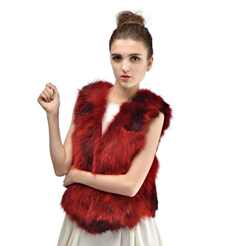 OLLEBOBO Vera Pelliccia Gilet Donna Cane Procione Fur Sleeveless Corta Alla Moda Rosso