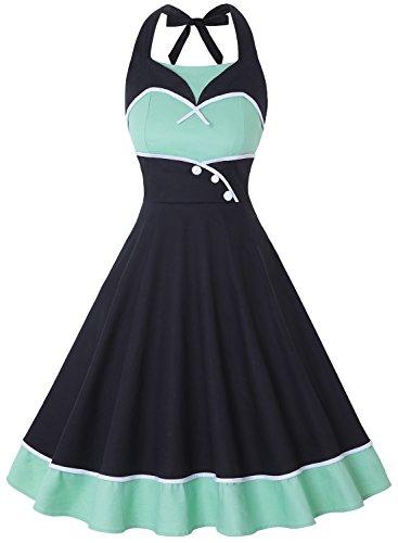 ihot Frauen Neckholder Rockabilly 50er Vintage Retro Kleid Cocktailkleid