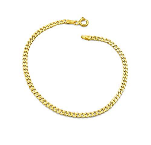 Damen-Armband Panzerarmband 925 Sterling Silber vergoldet 3mm breit Länge wählbar 19-20 cm Panzerkette Gold Armkette (20)