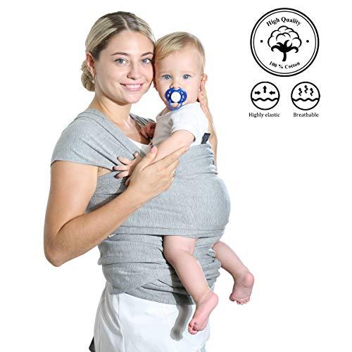 Tragetuch Baby Elastisch Anthrazitbaumwolle Babytrage, Bauchtrage, Rückentrage und Ringschlinge, Postpartaler Gurt und Stillbezug, Leicht zu Tragen
