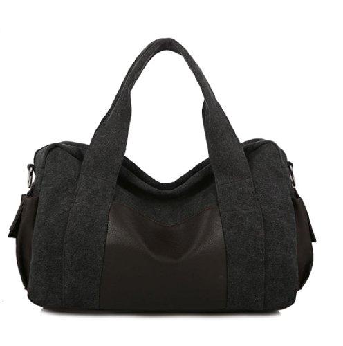 Nasis Fashion Herren Canvas Segeltuch Tote Umhängetasch Schultertasche groß Kapazität AL4004 (schwarz) (Canvas-sommer-tote)