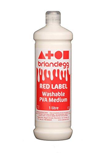 2 x Brian Clegg GL07 lavable PVA pegamento adhesivo etiqueta roja botella 1L litro