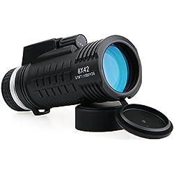 Svbony SV42 Monoculaire 8x42 BAK4 Prisme FMC Boussole Intégré Télémètre Tactique Monoculaire Télescope pour Camping Randonnée Tir à l'arc Concert