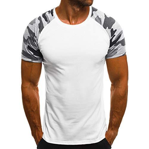 T-Shirts Tops für Herren,Beiläufige dünne Tarnung der Art- und Weisemänner gedruckte Kurzarm-T-Shirt,Slim Fit Hemd Sport Basic Sweatshirt Kapuzenpullover - Kundenspezifische Lange Ärmel T-shirts
