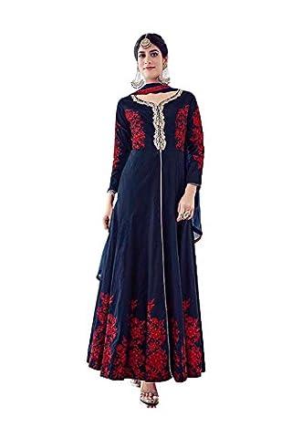 PCC Anarkali Style Incredible Salwar Kameez in Blue Color & Silk Fabric 80085