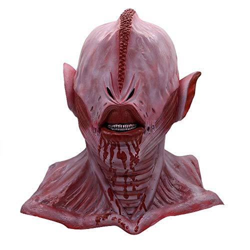 or Lila Alien Maske Horror Scary Shaped Head Set Zimmer Spukhaus Zombie Devil Mask ()