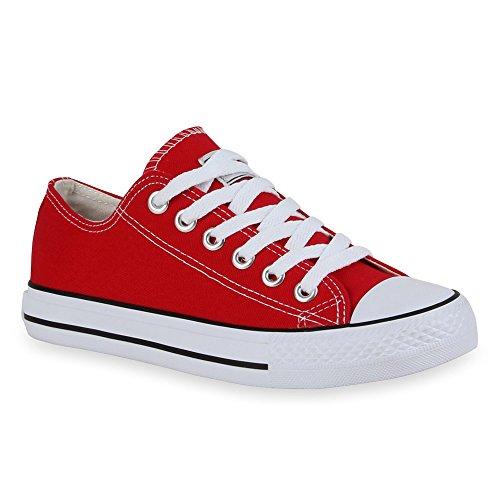 Damen Herren Kinder Unisex Schuhe Sneaker low Top Schnürschuh Halbhoch Rot