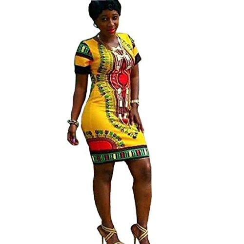 Vovotrade Frauen Traditionelle afrikanische Druck Dashiki Bodycon kurzärmelige Kleid (EU Size:42, Gelb)