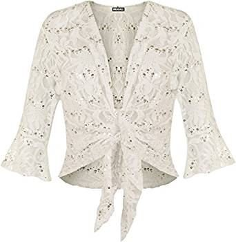 Fashion 4 Less Damen Lamarmshirt, Geblümt Gelb Cremefarben (Sleeve Cardigan 3/4 Cropped)
