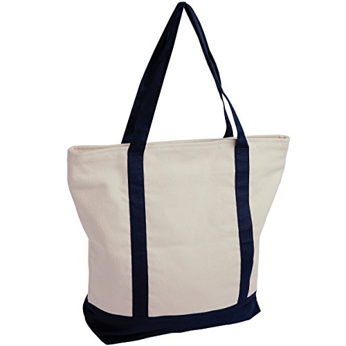 Jassz Bags - Borsa a Spalla in Canvas Naturale/Blu navy