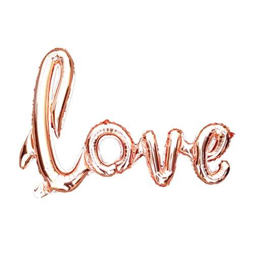 Glanzzeit 60 x 85 CM Handschrift Stil LOVE Luftballon Banner Romantische Buchstaben Skript LOVE für Heiratsantrag Brautparty Hochzeit Party Dekoration (Rosegold) (Buchstaben-ballons Valentinstag)