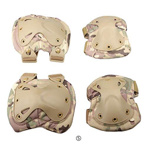 Febelle 1 Paar Knieschoner und 2 Ellbogenschützer für den Außenbereich, taktischer Schutz Knieschoner Ellenbogenbandage Set, CP