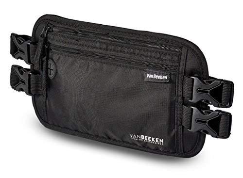 Flache Bauchtasche Hüfttasche mit RFID-Blockierung und 2 Hüftgurten für Damen und Herren - enganliegend, wasserabweisend - Geldgürtel zum Sport Joggen Reisen - VAN BEEKEN Money Belt, schwarz
