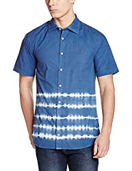 Tommy Hilfiger Mens Casual Shirt (8903876970625_P6AMW132M_Victoria Blue - Pt)